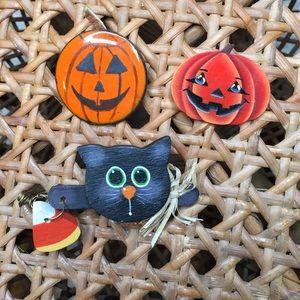 🖤🎃3 Handmade Halloween Pins/Brooch🦇🧡